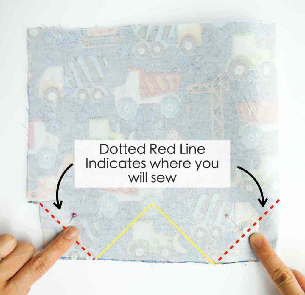 Sewing bottom side darts of DIY Fabric Baskets
