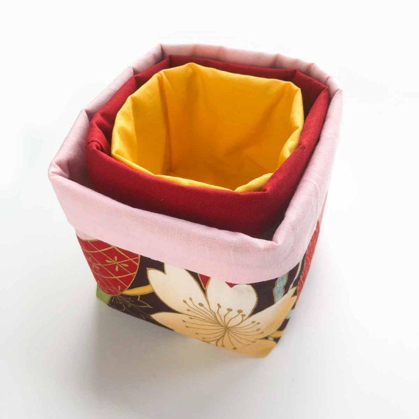 Nesting set of 3 DIY fabric bins