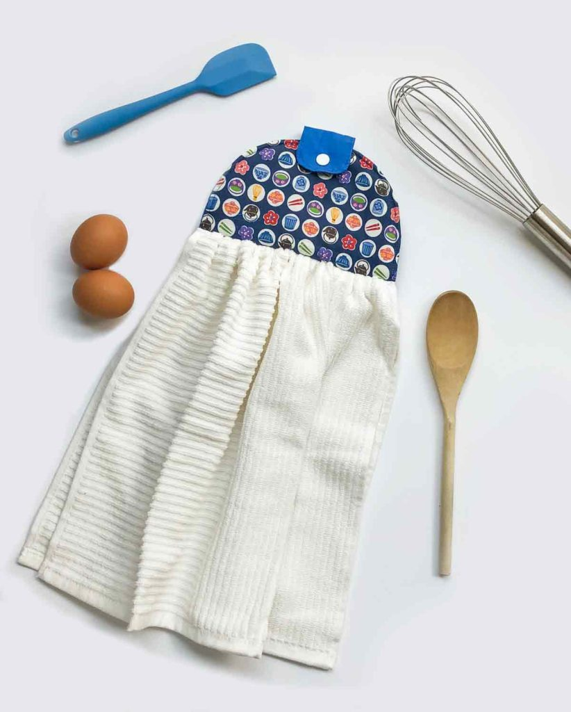 Hanging kitchen dish towel topper sewing pattern finished