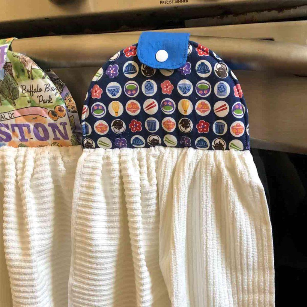 Closeup finished hanging kitchen dish hand towel sewing pattern