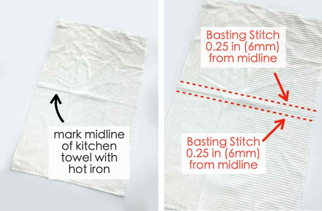How to prepare towel to sew to towel topper. Hanging kitchen dish towel sewing pattern.