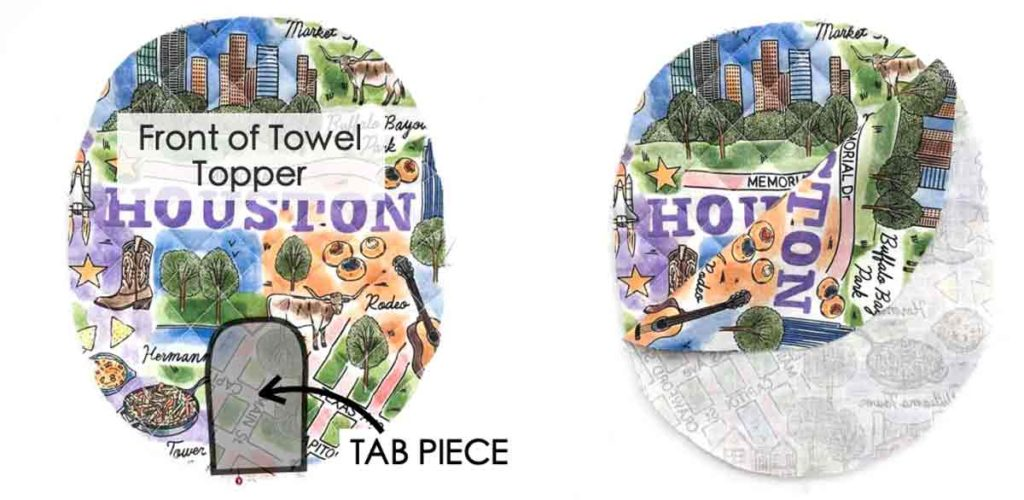 Sewing tab piece to towel topper. Hanging Kitchen dish towel sewing pattern