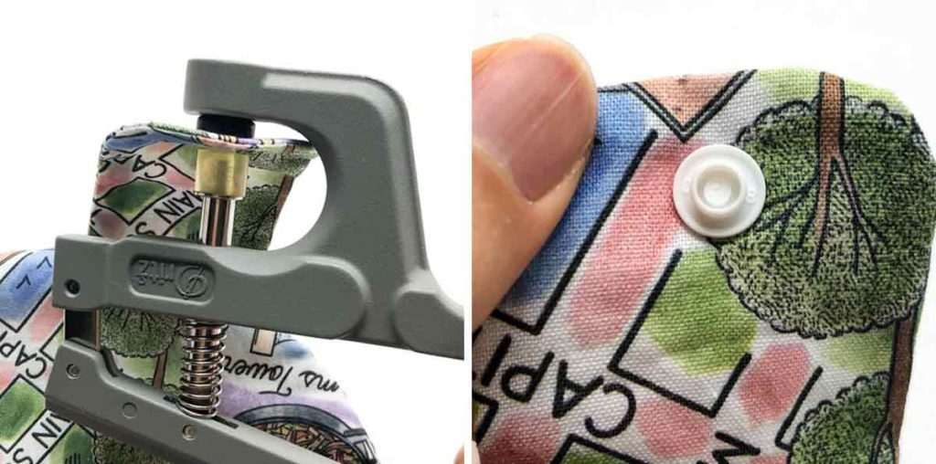 Applying snaps to tab piece of hanging kitchen dish towel