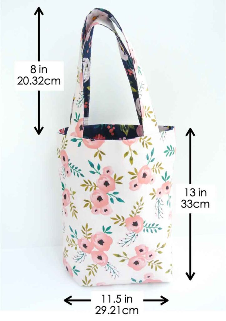 How to make reversible tote. Shows dimension of finished tote.