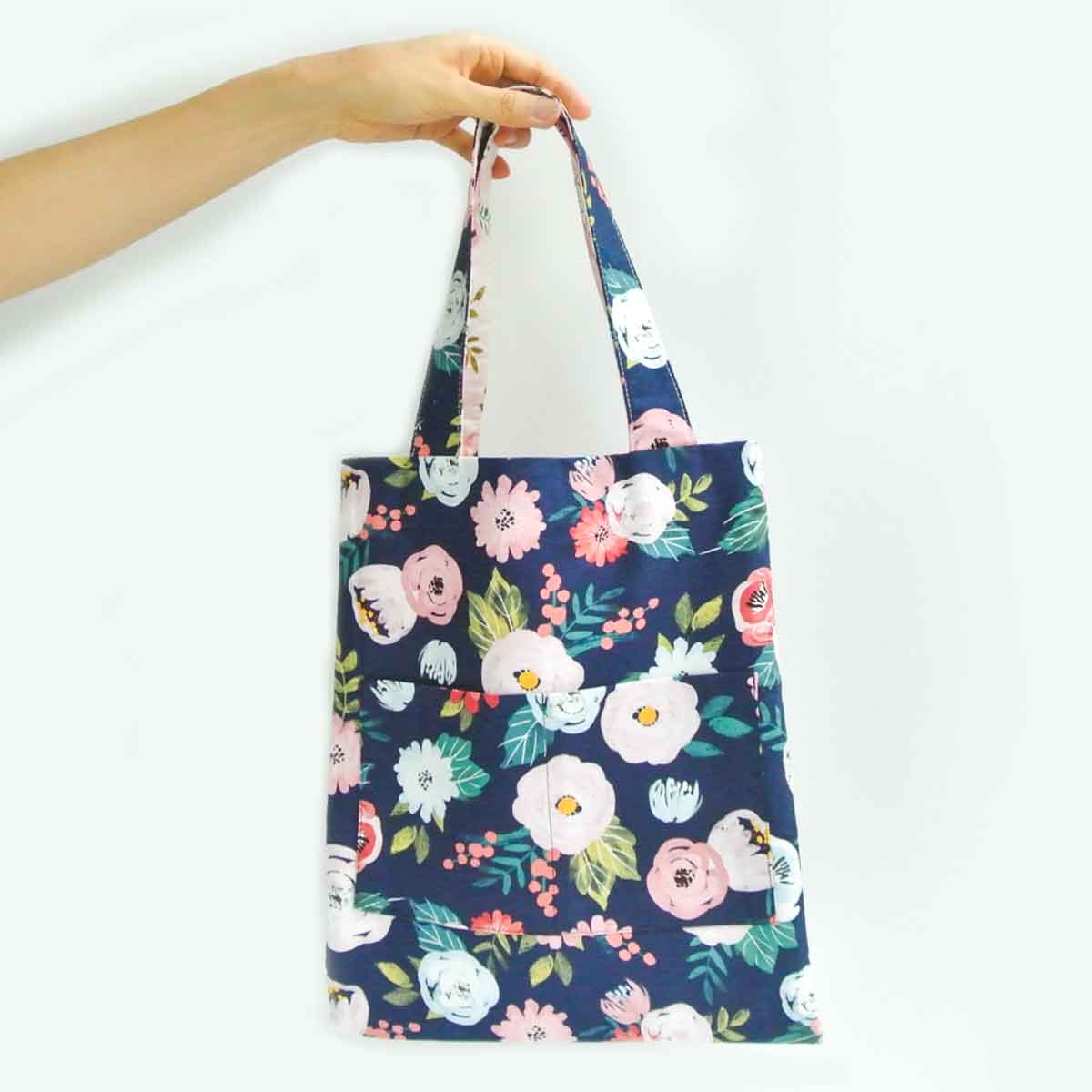 Reversible Tote Bag With Pockets