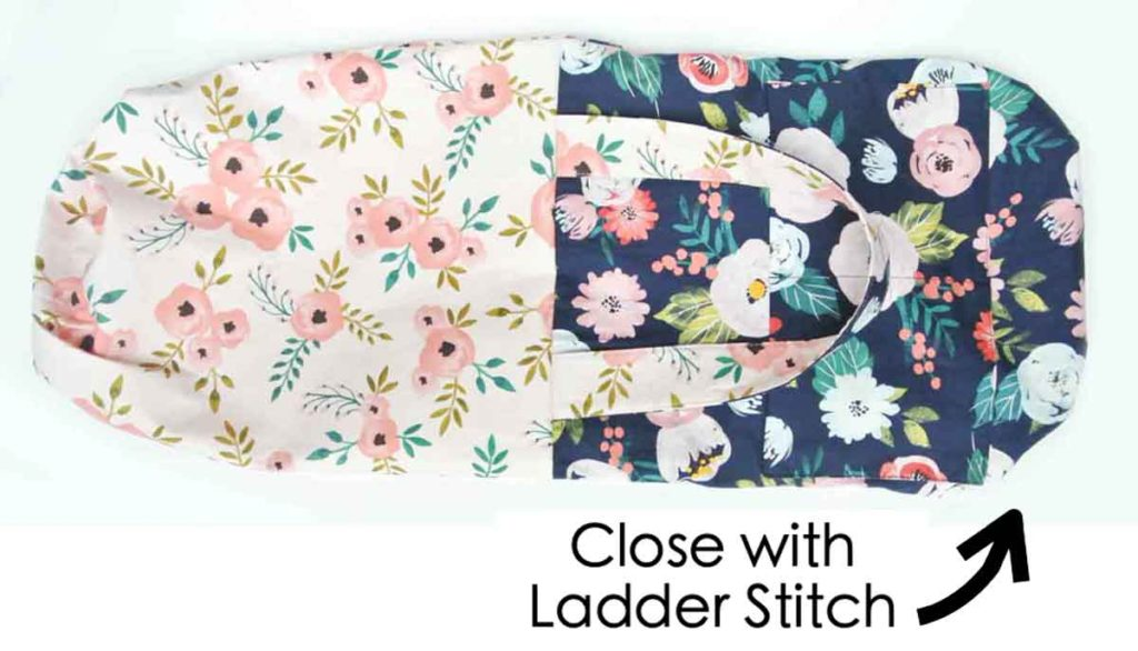 How to Make Reversible Tote closing hole with ladder stitch