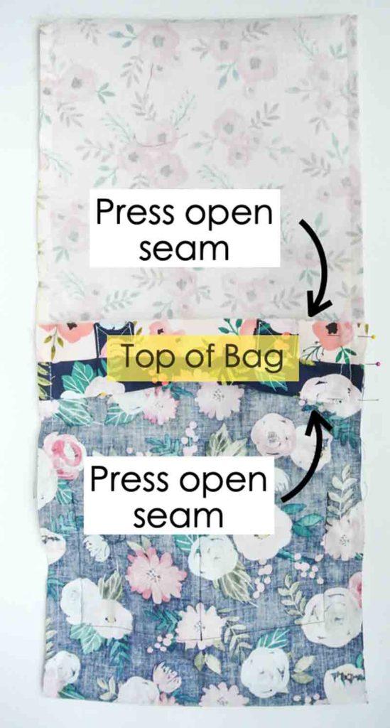 How to Make Reversible Tote pressing open seams at top of bag