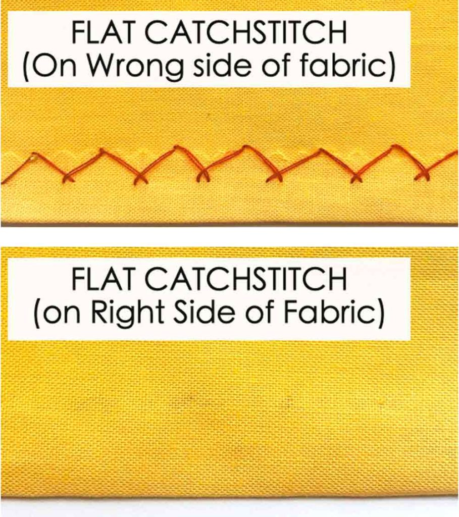 Flat Catchstitch front and back. Essential Hand Sewing Stitches