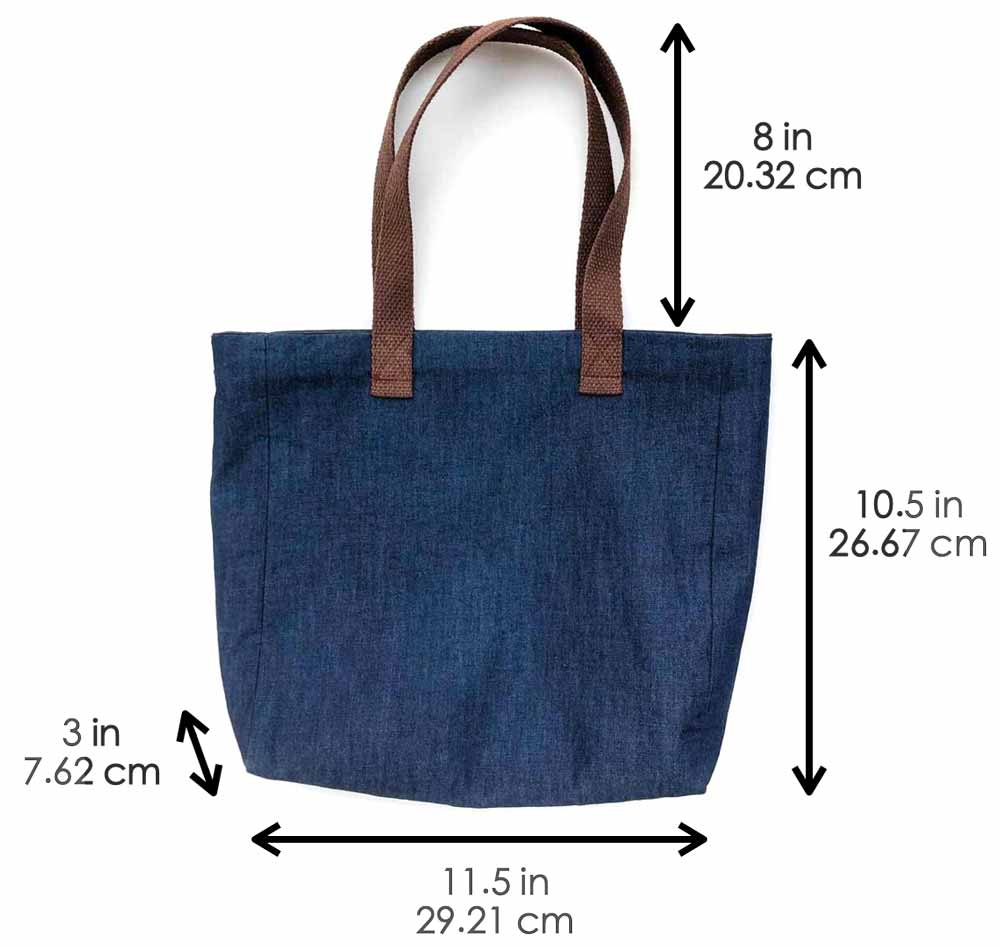 Shows finished simple tote bag with lining and measurements of dimensions