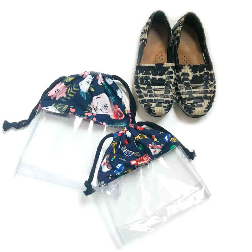 How to make a clear drawstring shoe bag. Shows a pair of casual shoes next to size medium and small shoe bag