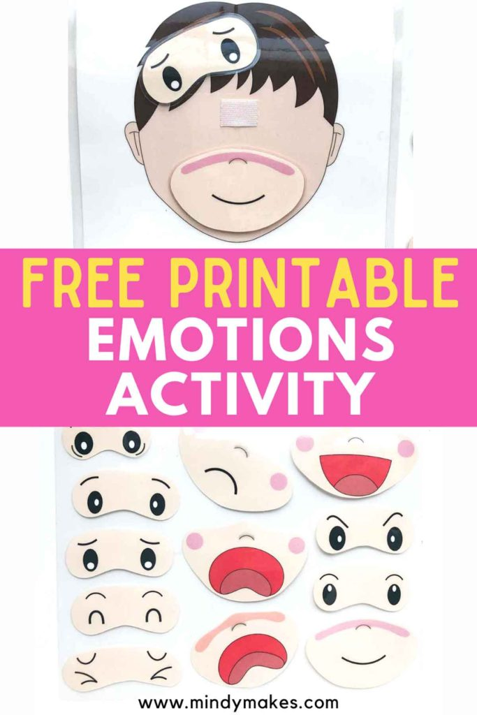 Free Printable Emotions Matching Activity in Bilingual English and Chinese Pinterest Image