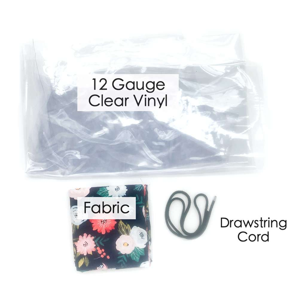How to Make Drawstring Shoe Bag Materials: Fabric, drawstring cord, and 12 gauge clear vinyl