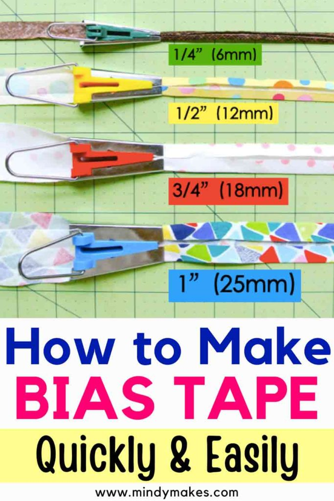 How to make Bias Tape Quickly and Easily. Shows 4 bias tape makers with labeled sizes