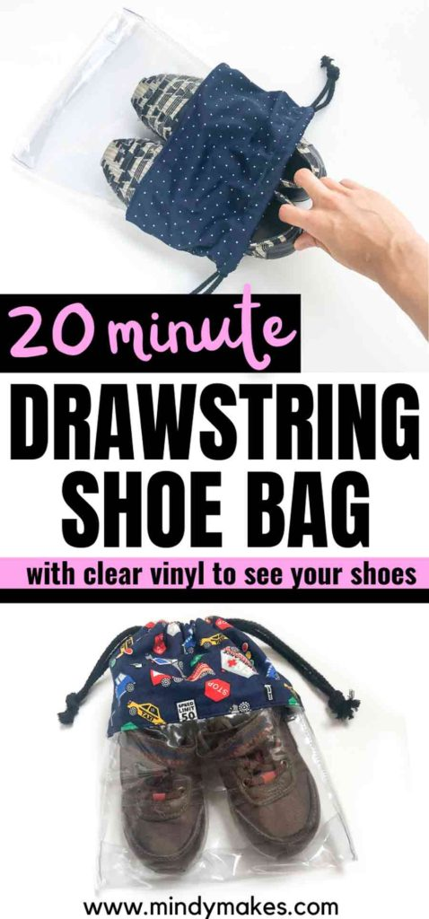 """How to make a clear drawstring shoe bag Pinterest image with text """"20 minute drawstring shoe bag with clear vinyl to see your shoes"""""""