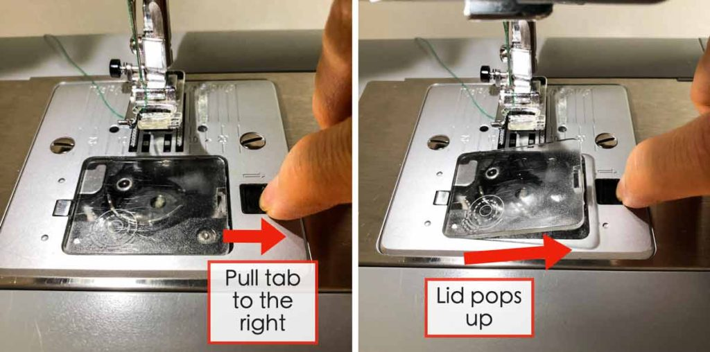 How to Thread the bobbin. Shows how to remove bobbin cover of singer heavy duty machine with horizontal bobbin case