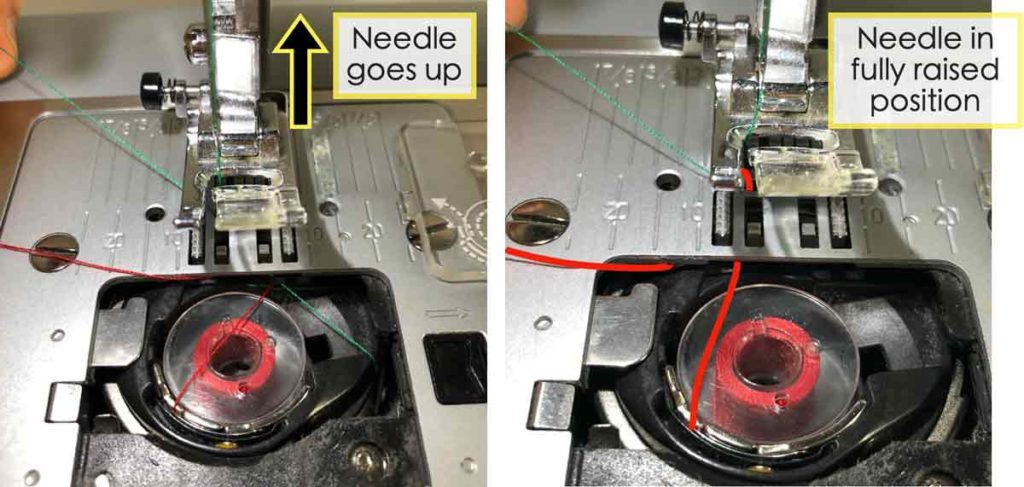 How to Thread the bobbin. Hold thread and continue turning hand wheel towards you (counterclockwise) to raise needle. Upper thread (shown in green) will continue to loop over bobbin thread (shown in red) and eventually pull it out of needle plate hole