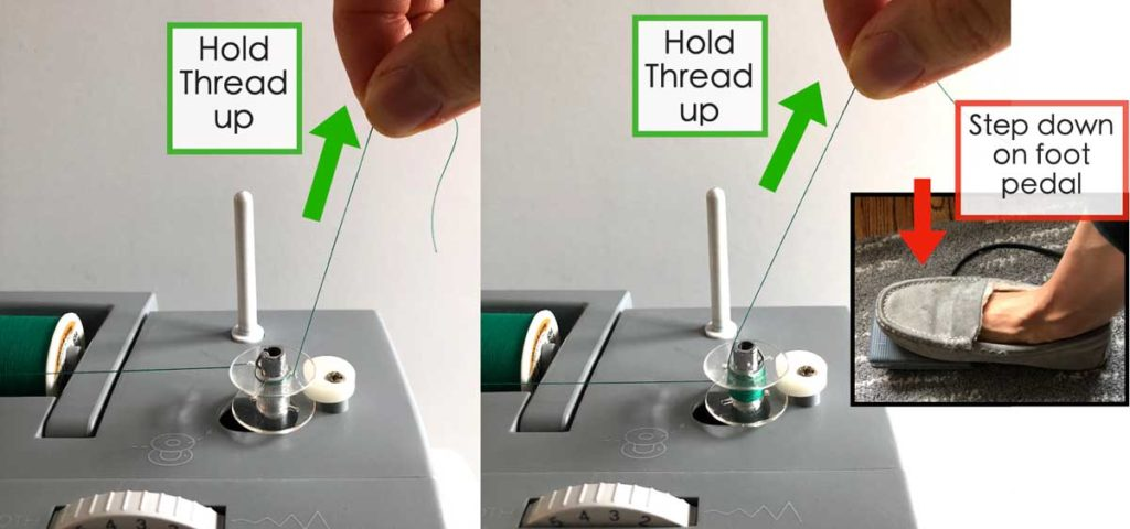 How to Wind and thread the bobbin. Holding bobbin thread up while stepping on foot pedal to wind bobbin