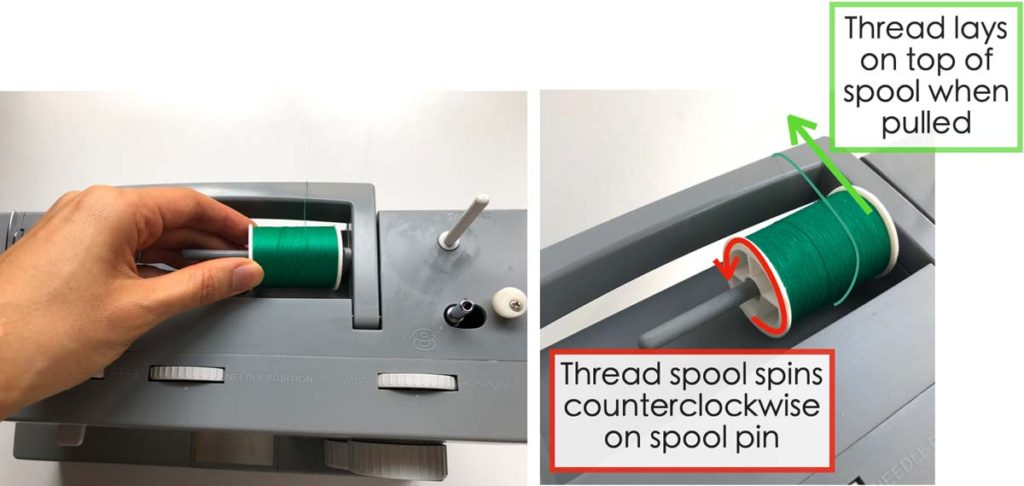 How to Wind and thread the bobbin. Shows hands placing thread spool on spindle pin. Thread spool spins in counterclockwise direction when the thread end is pulled.