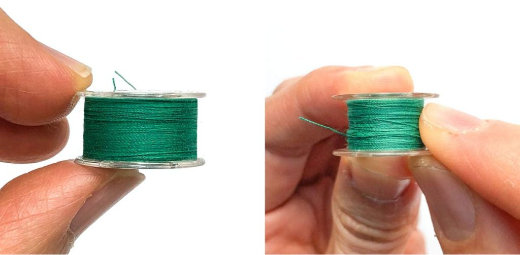 Shows a properly wound bobbin up close. How to wind a bobbin