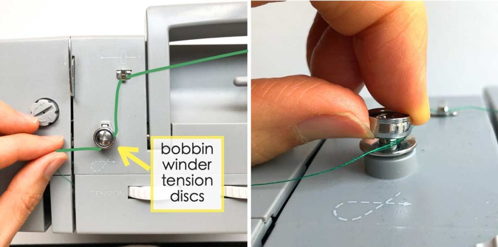 How to Wind and thread the bobbin. Pulling thread and looping it counterclockwise over bobbin winder tension discs