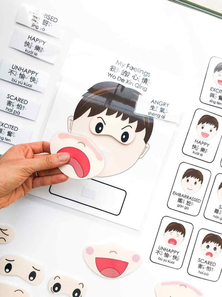 Emotions activity with hand holding mouth expression. Free Printable Emotions Matching Activity Bilingual English and Chinese