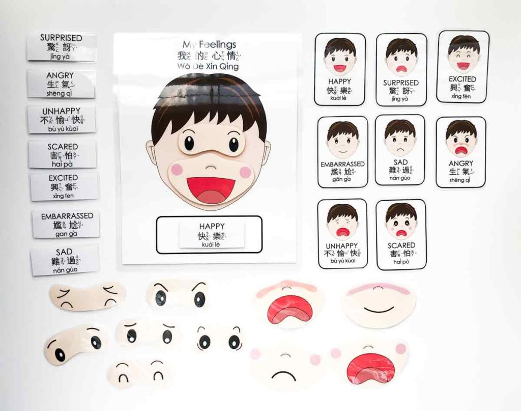 Full set of Kid's emotions activity flashcards. Free Printable Emotions Matching Activity Bilingual English and Chinese