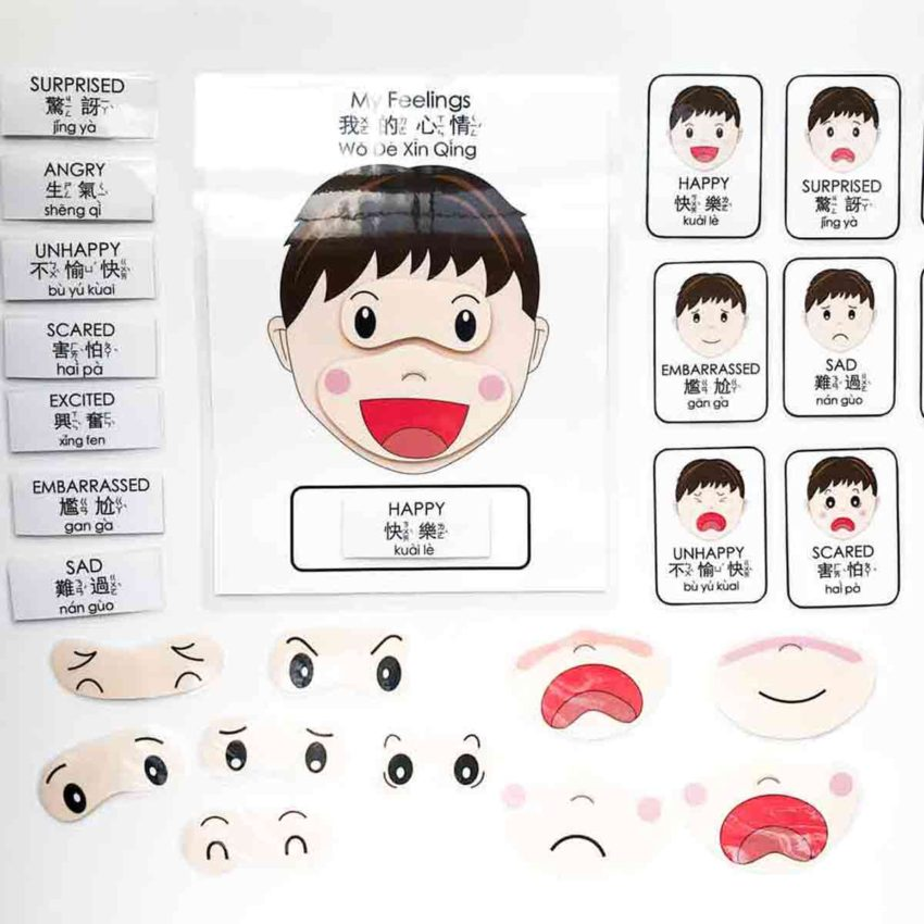 Free Printable Emotions Matching Activity in Bilingual English and Chinese. Featured Image