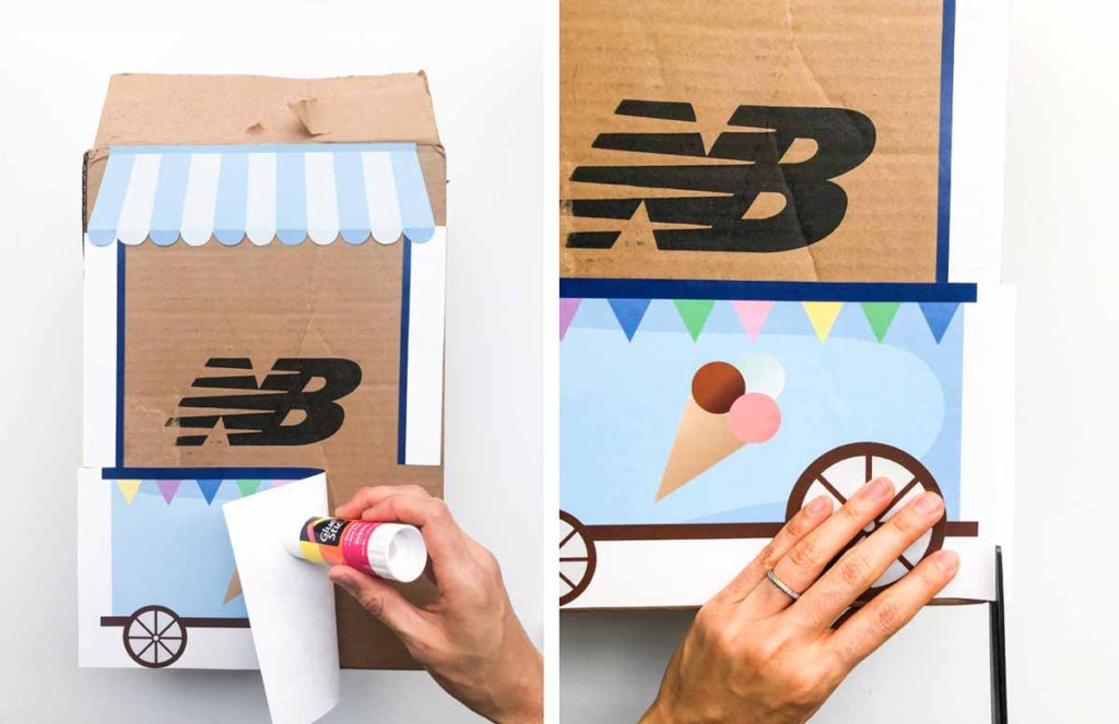 Count to 10 Ice Cream Activity. Shows hands using glue stick to glue printable to cardboard box, then trimming off excess paper that extends past box.