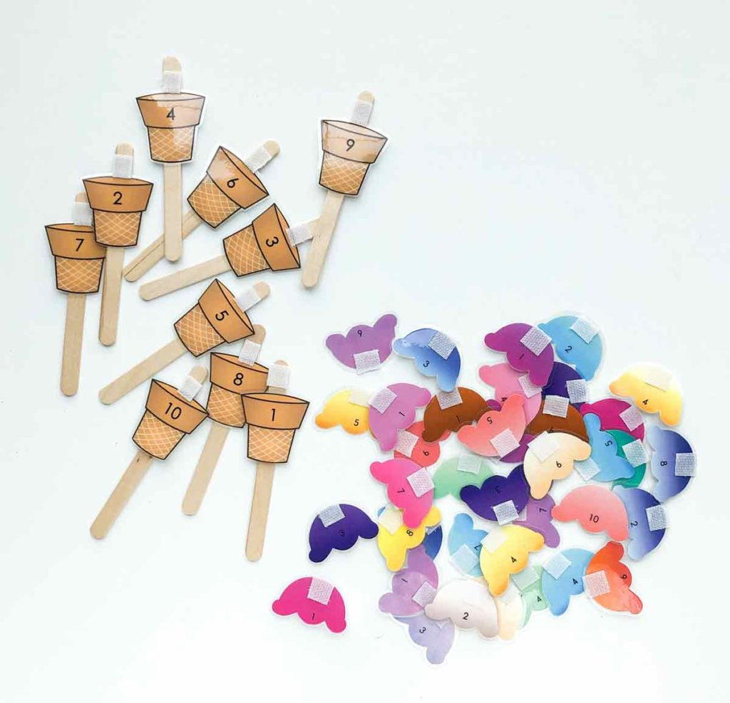 Count to 10 Ice Cream Activity. Shows finished ice cream cones and ice creams