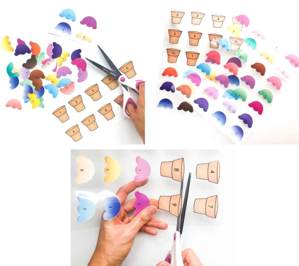 Count to 10 Ice Cream Activity. Ice cream cut out, laminated, and scissors cutting out laminated cones and ice cream.