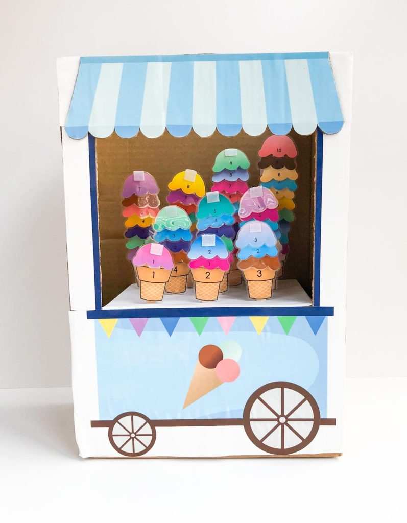 Ice cream cones 1-10 filled with ice cream scoops in ice cream cart. Count to 10 ice cream activity