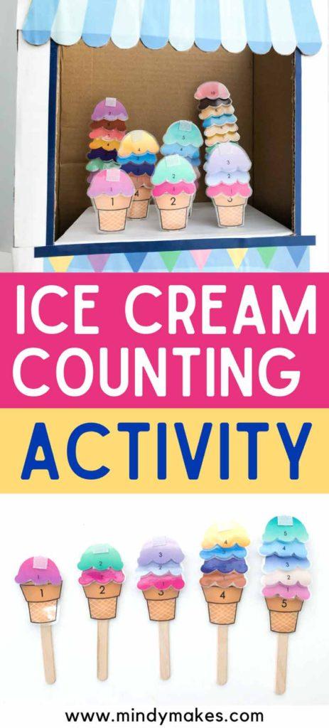 Ice cream counting activity pinterest image