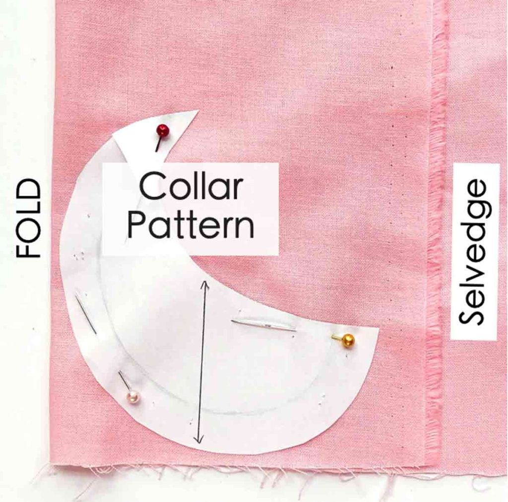 How to Make Baby Bib with Peter Pan Collar. Cutting Collar Pattern on fold of fabric and all bib pattern pieces cut out