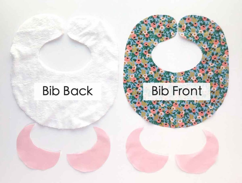 How to Make Baby Bib with Peter Pan Collar. Photo shows all bib pattern pieces cut out