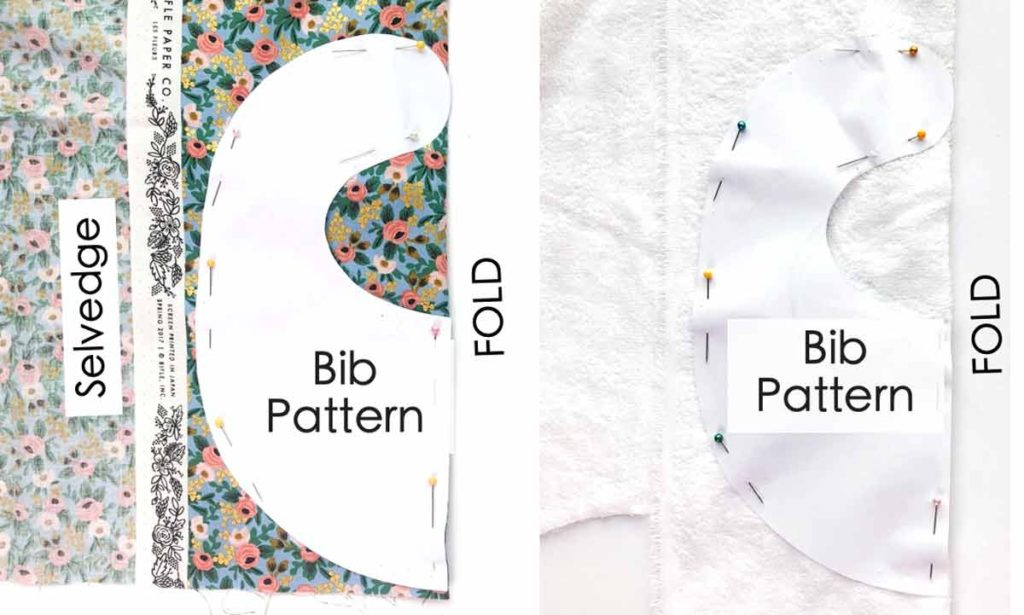 How to Make Baby Bib with Peter Pan Collar. Laying bib pattern on fold of fabric for front and back fabric